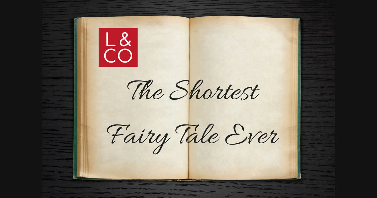 'the shortest fairy tale ever' written inside an open blank bookten